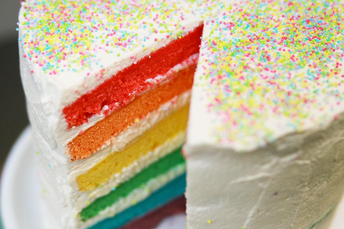 Recette du rainbow cake ou g teau arc en ciel facile avec herv cuisine - Herve cuisine cake chocolat ...